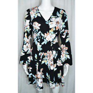 ASOS Skater Dress Long Sleeve Black Floral Size 6